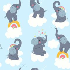 Modèle sans couture avec des éléphants et des nuages mignons. Graphiques vectoriels.
