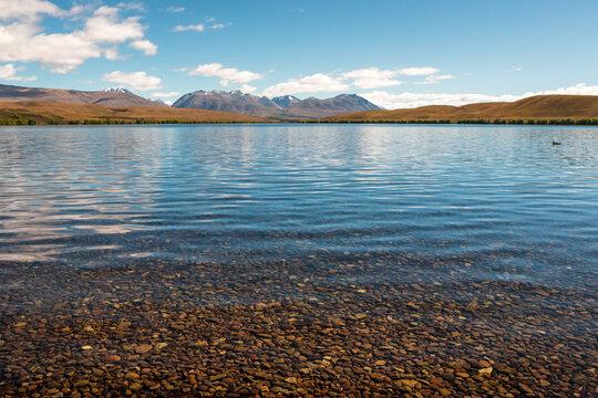 Shallow water of mountain lake