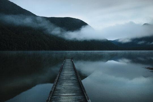 Serenity. Blue hour on Lake Daniell, West Coast, New Zealand.