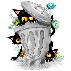 Self adhesive Wall Murals Draw Cats Naughty Characters playing on Garbage Trash Bin Vector illustration