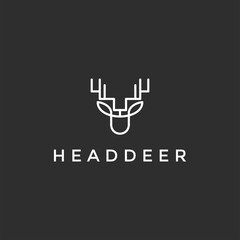 deer hunter logo type, template, and vector on black background