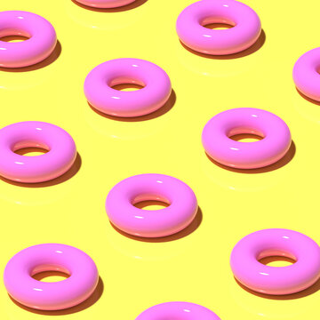 3D render. Pattern of pink rubber circles for swimming on yellow background. Minimalistic style, aesthetic and surrealism. Summer vacation vibes.