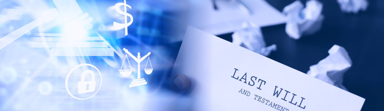 Legal concept. The procedure for writing the last will. Papers with testament on the table. Registration of the last will and testament.