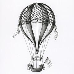 Fototapeta Hand drawn hot air balloon isolated on background obraz