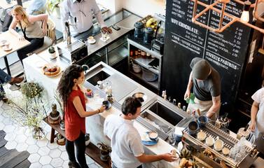 Obraz People at the coffee shop - fototapety do salonu