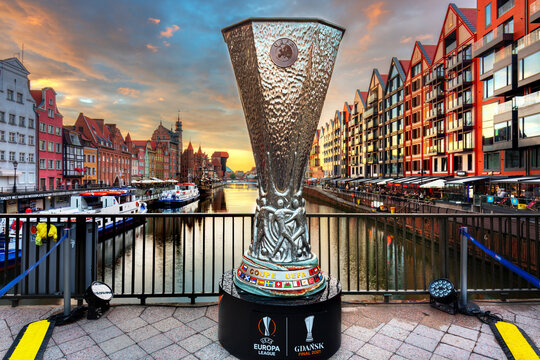 Gdansk, Poland - May 23, 2021: A huge copy of the Europa League Cup on the Green Bridge in Gdansk at sunset. The Europa League final will take place at the Gdańsk stadium on Wednesday, May 26, 2021.
