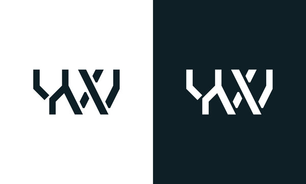 Creative minimal abstract letter YW logo.