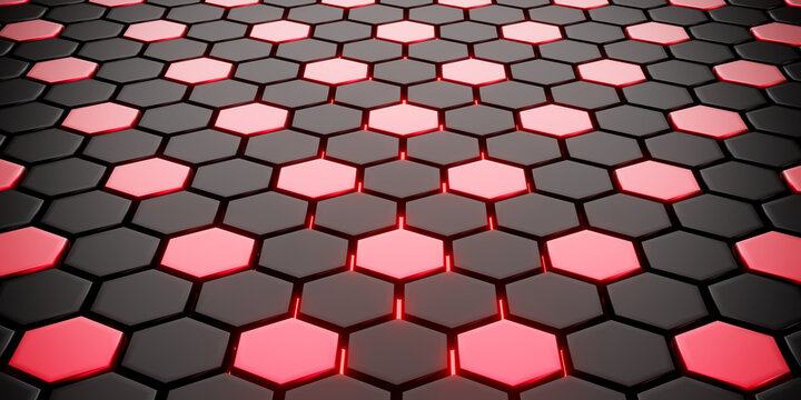 Red and black hexagons