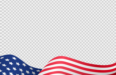 Waving flag of American isolated  on png or transparent  background,Symbols of USA , template for banner,card,advertising ,promote, TV commercial, ads, web design,poster, vector illustration