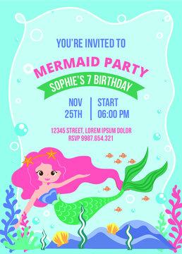Flat mermaid birthday invitation template 1