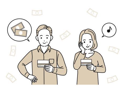 通帳を見て喜ぶ中高年の男女 給与 振込 夫婦 ミドル イラスト素材