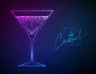 Obraz Neon fluid cocktail vector illustration.  Fluid background. Cosmopolitan cocktail - fototapety do salonu