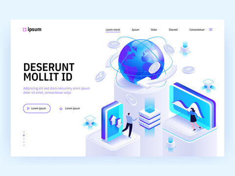Vector landing page of Tech isometric concept