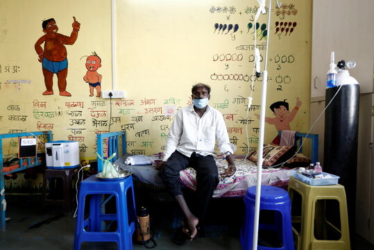 Patients are treated at classroom turned into COVID-19 care facility on outskirts of Mumbai