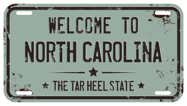 Welcome To North Carolina Message On Damaged License Plate