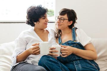 Obraz Lesbian couple sharing sweet moments - fototapety do salonu