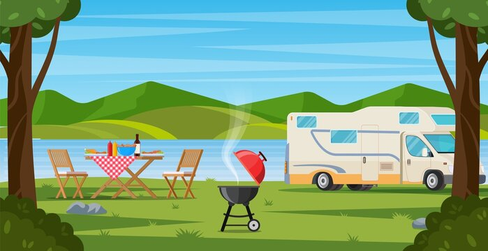 Camper with barbecue folding table deckchair