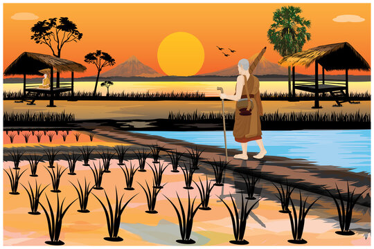 silhouette pilgrimage the monk  in Buddhism  vector design