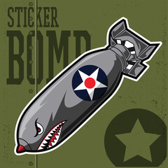 Fototapeta Air Bomb Flying Tiger Shark Mouth Sticker Vinyl  Camo Vector  obraz