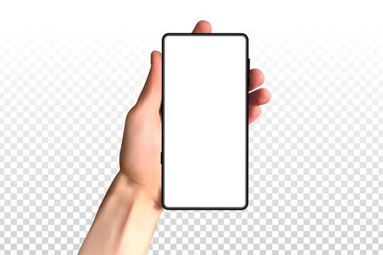 Vector realistic isolated hand holding a phone for template and mockup decoration on the transparent background.
