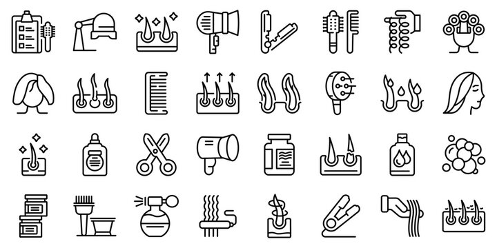 Curly hair icons set. Outline set of curly hair vector icons for web design isolated on white background