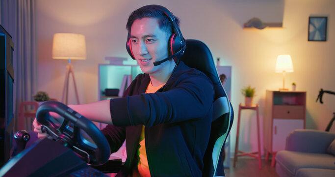 cybersport gamer play car racing