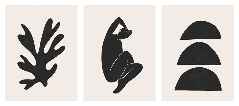Trendy contemporary abstract matisse geometric woman composition