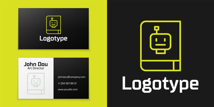 Logotype line User manual icon isolated on black background. User guide book. Instruction sign. Read before use. Logo design template element. Vector
