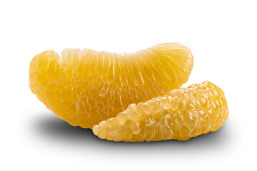 Fototapete - Side view of fresh peeled pomelo fruit on white background with clipping path.