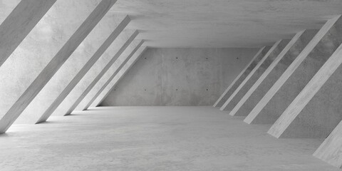 Abstract empty, modern concrete room with soft light from left with diagonal pillar walls and rough floor - industrial interior background template