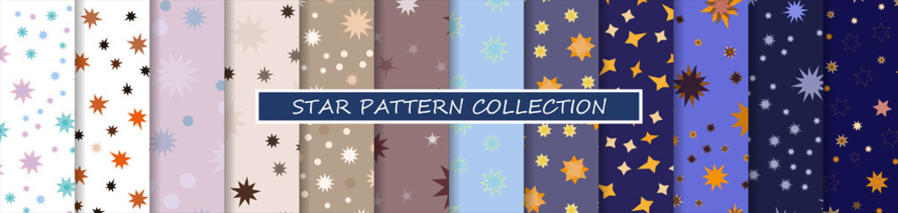 Star pattern set. 12 seamless repeating space background with different cosmic flashes in the sky, for baby, kid, child. For textiles, fabrics and printing. Packaging design, wrapping paper. Vector