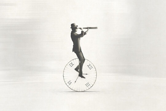 illustration of hurry classic businessman riding an antique clock to get on time to work, time and space concept