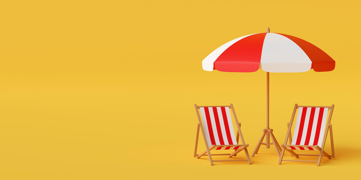 Minimal summer vacation concept, Beach umbrella with chairs on yellow background, 3d illustration