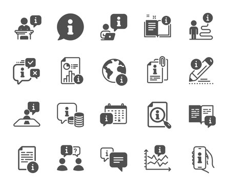 Info center icons. Reception information, Journey path, Guide book. Call center, Faq chat bubbles, Info help desk icons. Question mark, Search information and Customer help service. Vector
