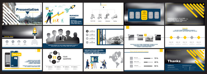 Start business presentations, infographics, teamwork, people. Color yellow design elements on a white background. Use in slides, commercials, marketing. Pictograph of construction, vector