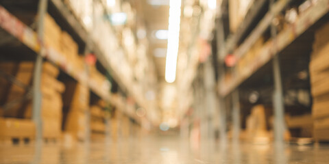 Obraz Blurry background of Warehouse inventory product stock for logistic background, global business for good import and export, stock storage industrial delivery, logistic factory cargo container - fototapety do salonu