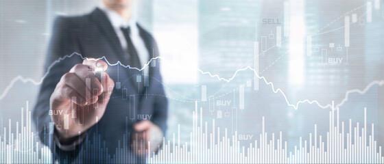 Obraz Trading Investment Economics concept. Trade concept. Stock market background - fototapety do salonu