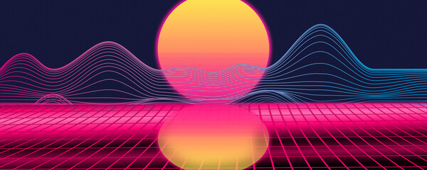 Wall Murals Candy pink Retro background futuristic landscape 1980s style. Digital retro landscape cyber surface. Retro: sun, space, mountains. 80s Retro Sci-Fi Background Summer Landscape.
