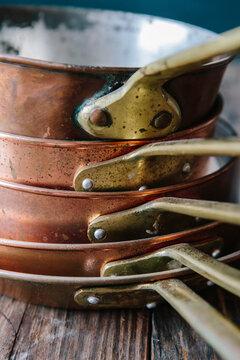 Closeup of copper cookware