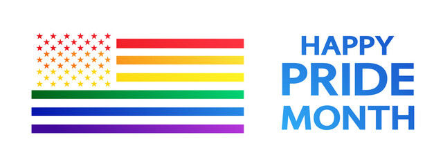 Obraz Happy Pride Month rainbow concept on white. American Pride flag isolated. Freedom flag - symbol LGBTQ community and movement of sexual minorities. - fototapety do salonu