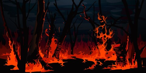 Obraz Forest fire, burning trees at night wood. Vector wildfire burnt landscape, nature disaster, ecology catastrophe. Red flame on grass and black tree trunks or branches in forest, environment destruction - fototapety do salonu