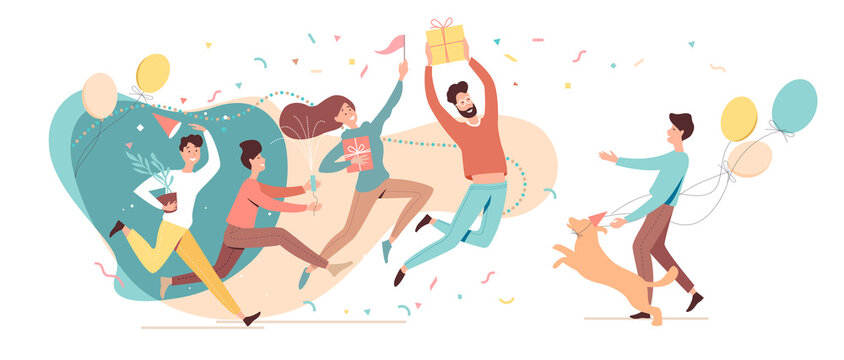 Birthday party. Birthday greeting concept. Group of happy guests came to surprise and celebrate the birthday party. Flat vector illustration
