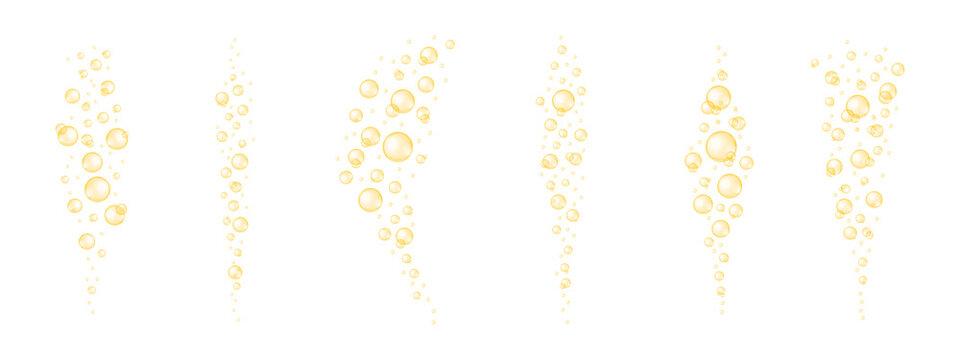 Golden shiny bubbles streaming set. Glossy collagen, serum, jojoba cosmetic oil, vitamin A or E, omega fatty acids balls collection. Vector realistic illustration.
