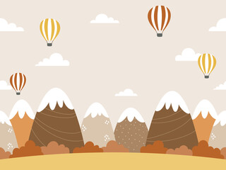 Seamless background design with mountains, forests, clouds, and hot air balloons in autumnal colors. Cartoon style fall landscape illustration. For poster, web banner, kids room wall paper, etc.