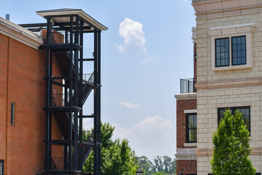 Fire escape between two buildings in a mixed use town center