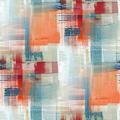 Fototapeta Canvas surface texture seamless pattern background. Oil paint brush stroke effect background. Peach, blue, orange repeated paint strokes obraz