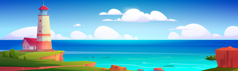 Lighthouse on sea coast. Summer landscape of ocean beach with beacon and building on cliff. Vector cartoon illustration of seascape with nautical navigation tower. Ocean shore with light house