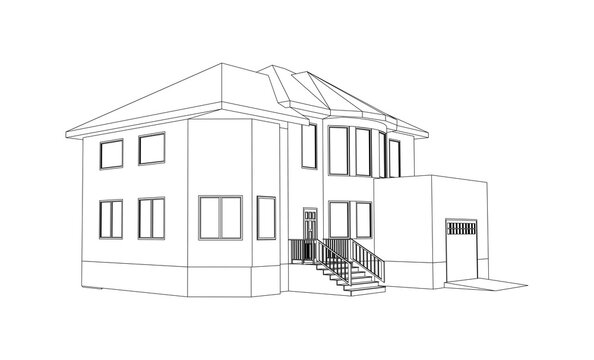 Building perspective 3D. Drawing of the suburban house. Outlines cottage isolated on white background. House 3D model perspective vector. Cottage blueprint.