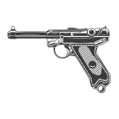 Obraz Illustration of parabellum handgun. Design element for logo, label, sign, emblem, banner. Vector illustration - fototapety do salonu