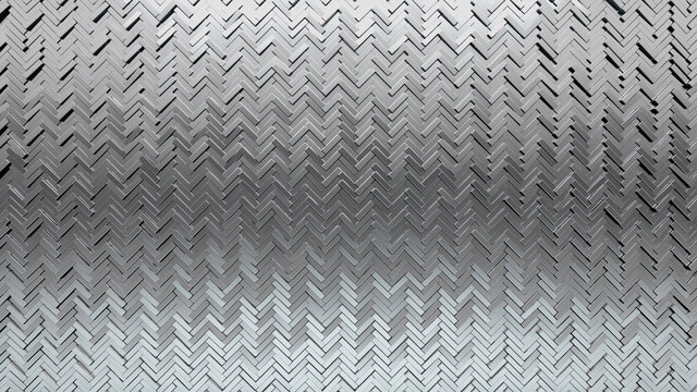 3D Tiles arranged to create a Glossy wall. Silver, Herringbone Background formed from Luxurious blocks. 3D Render